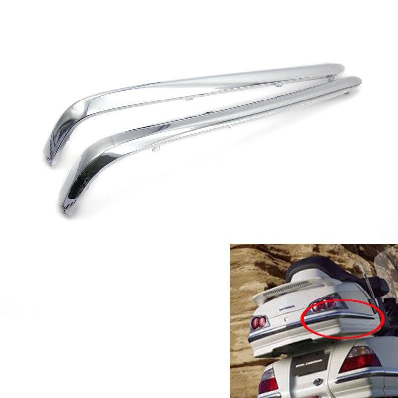 все цены на High quality 1 Pair Chrome Motorcycle Rear Decoration Trunk Trims Strips Moulding Case for Honda Goldwing GL1800 2001-2011 онлайн