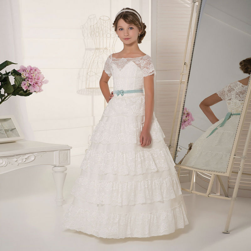 Long Flower Girls Dresses For Wedding Gowns Lace Glitz Pageant Dresses for Little Girls Ball Gown Mother Daughter Dresses long flower girls dresses for wedding gowns ankle length kids prom dresses lace glitz pageant dresses for little girls