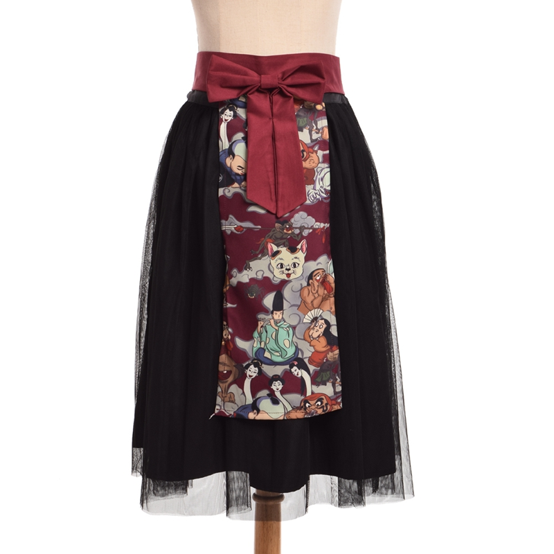 Hyakki Yakou Lolita Gothic Darkness Skirt Japanese Kimono Style Double Layers Skirts White Short Sleeve Top