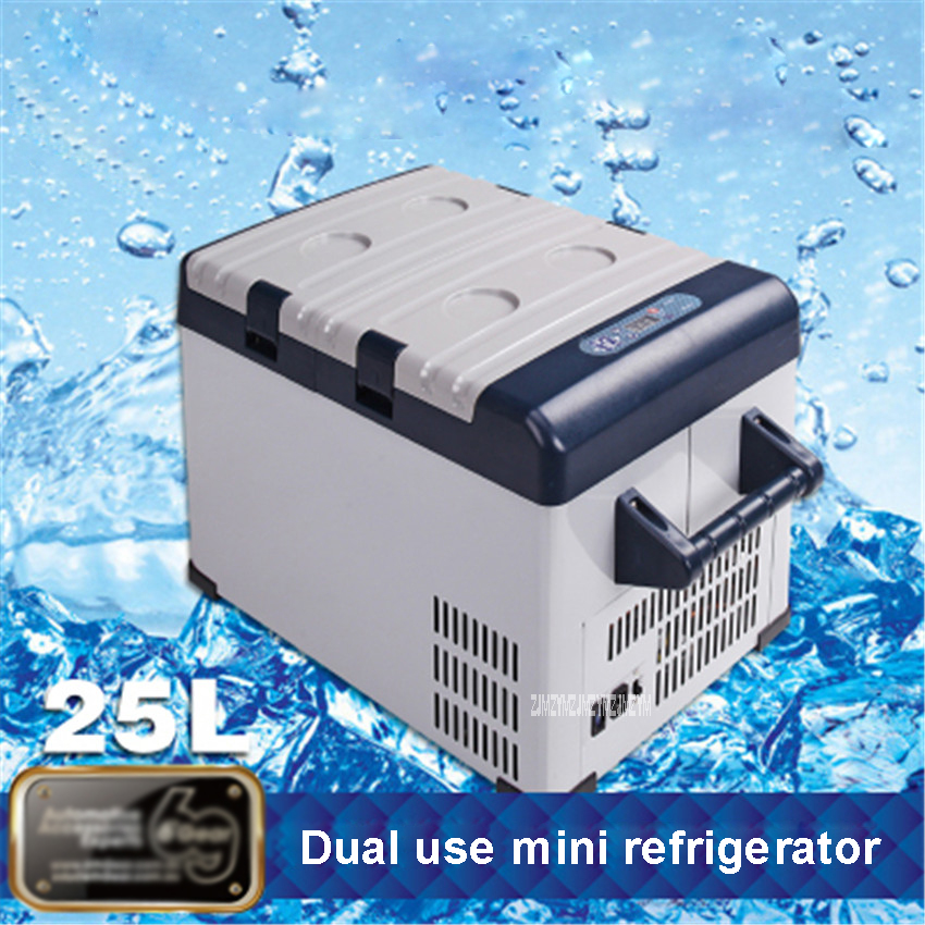 Renewed Automatic Locking Handle Portable Car Fridge Mini Fridge Electric Cooler and Warmer for Car and Home 27.5 Quart Car Refrigerator with Dual 12V DC /& 110V AC