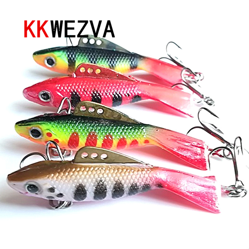 KKWEZVA 4pcs 63mm 12g VIB Fishing Lure winter Ice Fishing Hard Bait Minnow Pesca Tackle Isca Artificial Bait Crankbait Swimbait walk fish 5pcs lot isca artificial fishing lure 13cm 21g crankbait hard fishing bait swimbait pesca lures pike fishing tackle