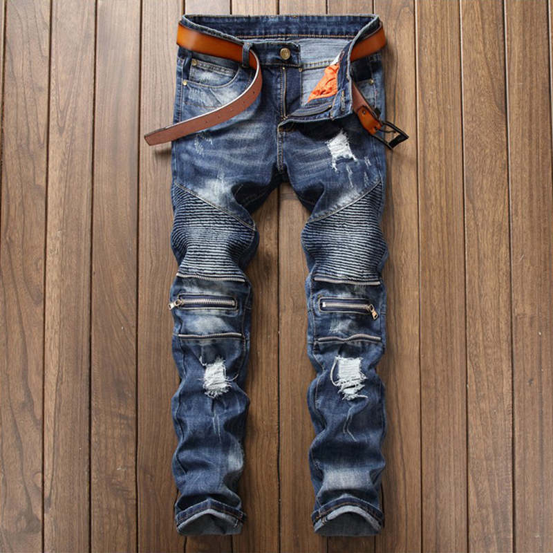Blue Ripped Denim Pant Knee Hole Zipper Biker Jeans Men Slim Destroyed Torn Jean Pants Luxury Brand Designer Mens Pleated Jeans 2017 brand ripped hole jeans for men mens hip hop zipper biker denim pants palace hombre destroyed rock jeans slim fit trousers