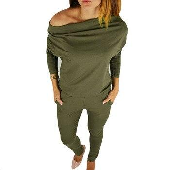 Automne femme corps avec manches longues salopette pour femmes barboteuses combinaisons combinaison femme sexy body lady vert combishorts