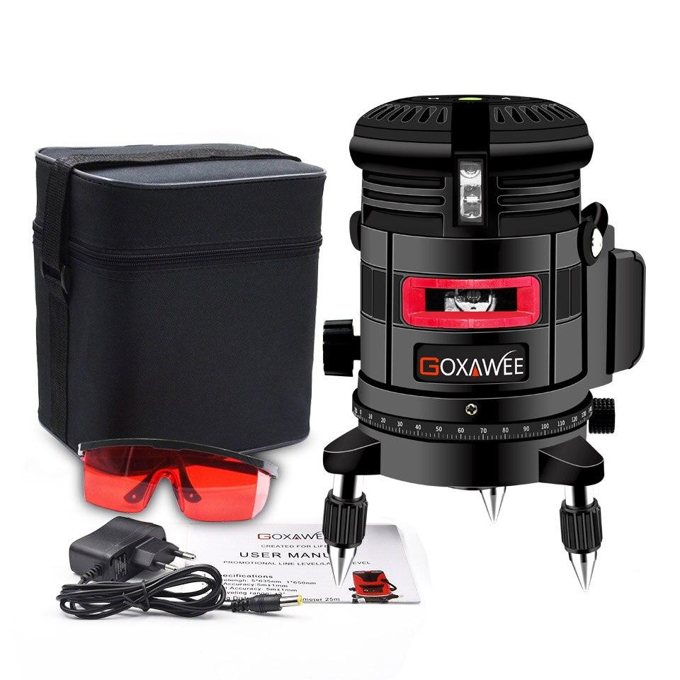 GOXAWEE, красный лазерный уровень, 360 градусов, перекрестная линия, вращающийся уровень, измерительные приборы, 5 линий, 6 точек, для строительных инструментов - Цвет: 5041