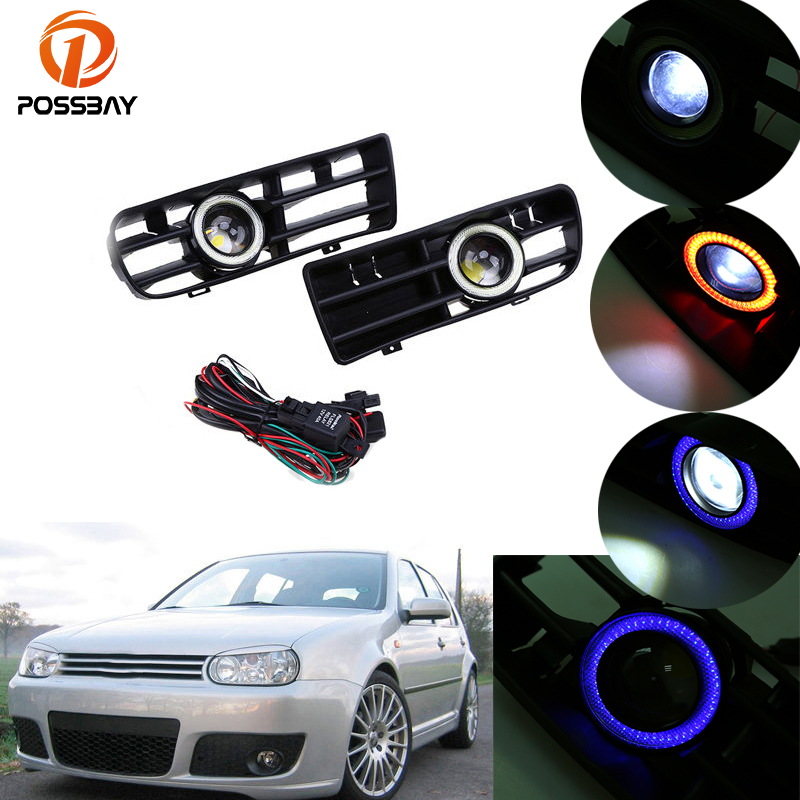 POSSBAY White/Red/Blue Fog Light Front Bumper Angel Eyes Car DRL Daytime Running Driving Lights for VW GOLF GTI MK4 1998-2006 new led daytime running lights drl with halo ring angel eyes for mini cooper rally driving lights front bumper 6000k 1900lm auto