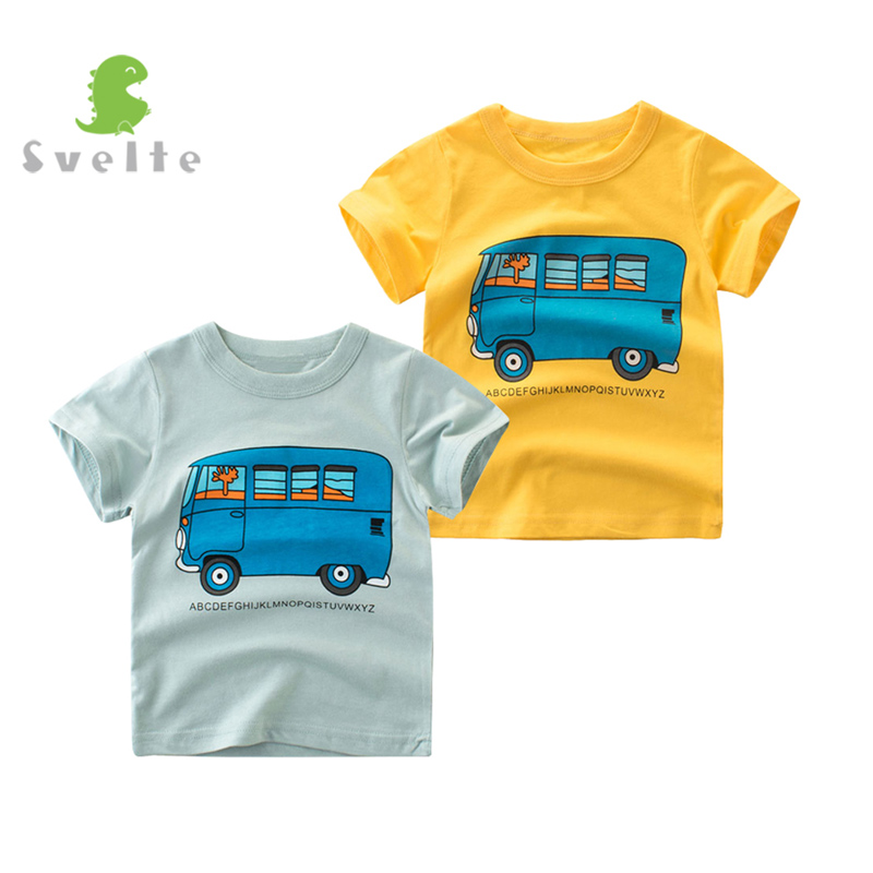 SVELTE 2-7 Years Kids Boys Short Sleeve Cotton Crewneck Casual Tshirt Printing Car Children Slim Fit Tops Tees for Summer Clothe