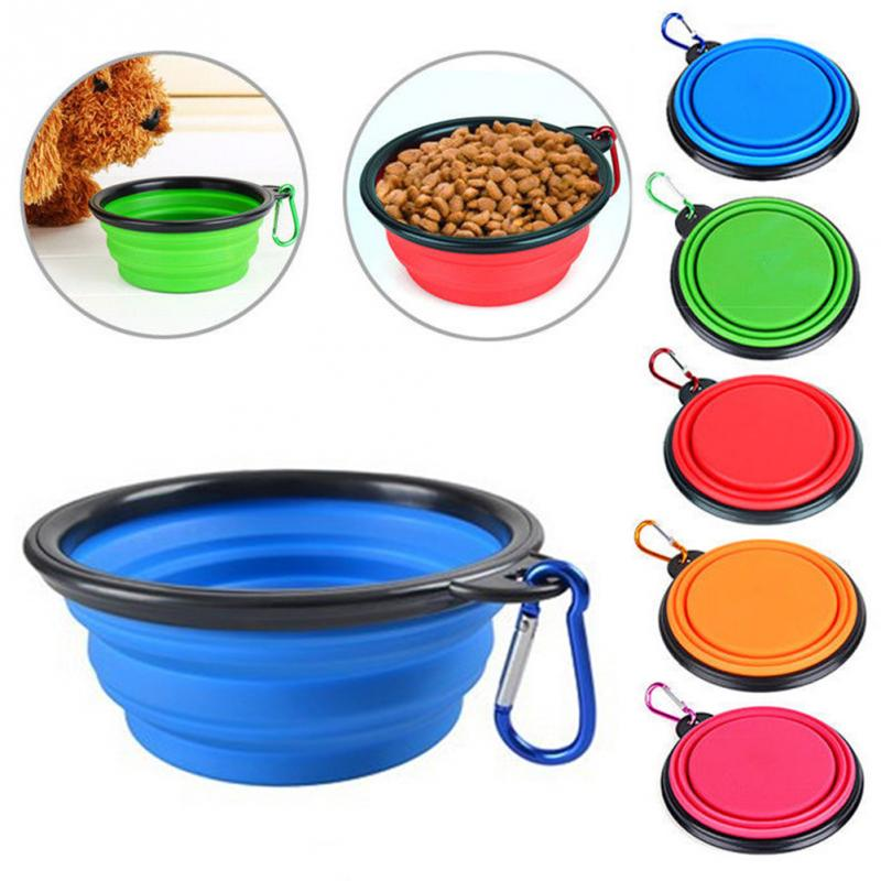 Pet Portable Travel Drinking Feeding Bowl Foldable Dog Compact Feeding Dish Cat Silicone Lightweight Bowl With Buckle #0528
