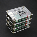 3-layer Raspberry pi 2 Transparent Acrylic Case Clear Shell Enclosure + 3pcs Cooling fan for Raspberry Pi 3 Model B case fan