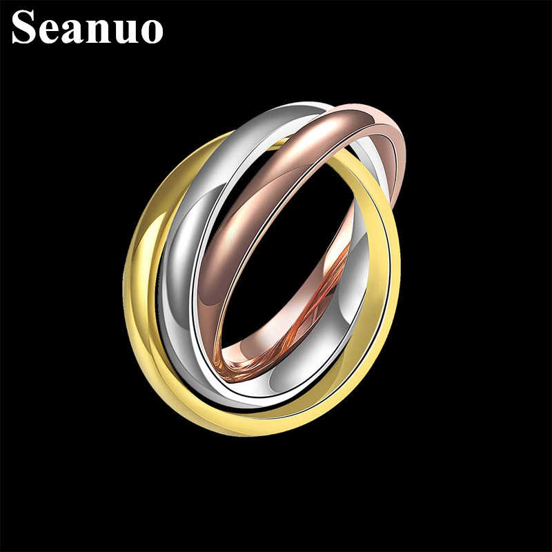 Seanuo 3 Rings/set Rose Gold & Silver Color Stainless Steel Ring For Men Women Fashion Triple Dome Rolling Stack Party Ring 6-12