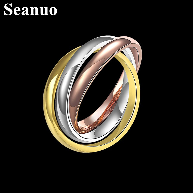 Seanuo 3 Rings crossed rose gold color stainless steel ring for men women high polish triple dome rolling stack party ring 6-10 web page