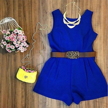 Summer Royal Blue Jumpsuit Women Sleeveless Rompers No Belt Playsuit Overalls Real Photo
