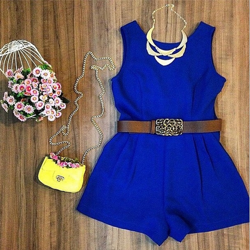 Summer Royal Blue Jumpsuit Women Sleeveless Rompers No Belt Playsuit Overalls Real Photo Macacao Feminino S5435