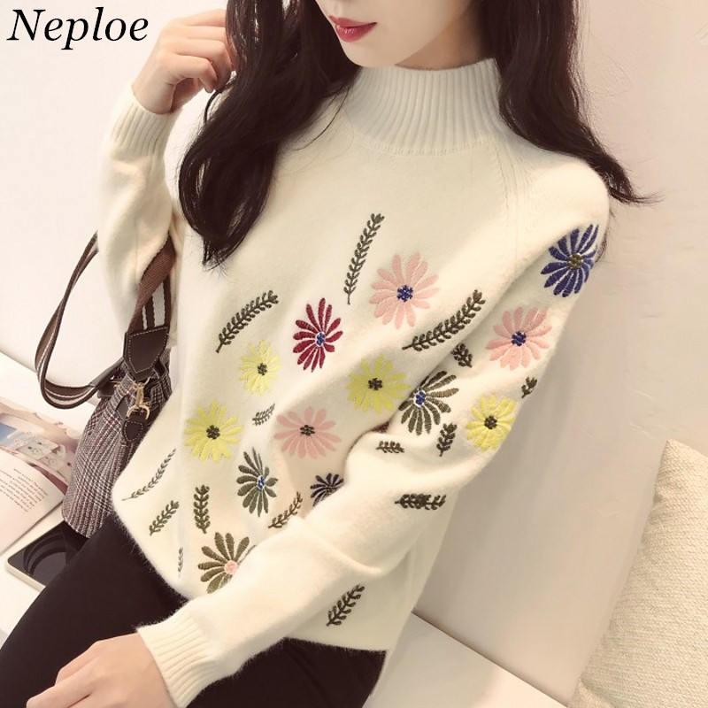Neploe Sweater Elegant Tops Jumper Knitwear Embroidery Pulover Loose Autumn Winter Long-Sleeve