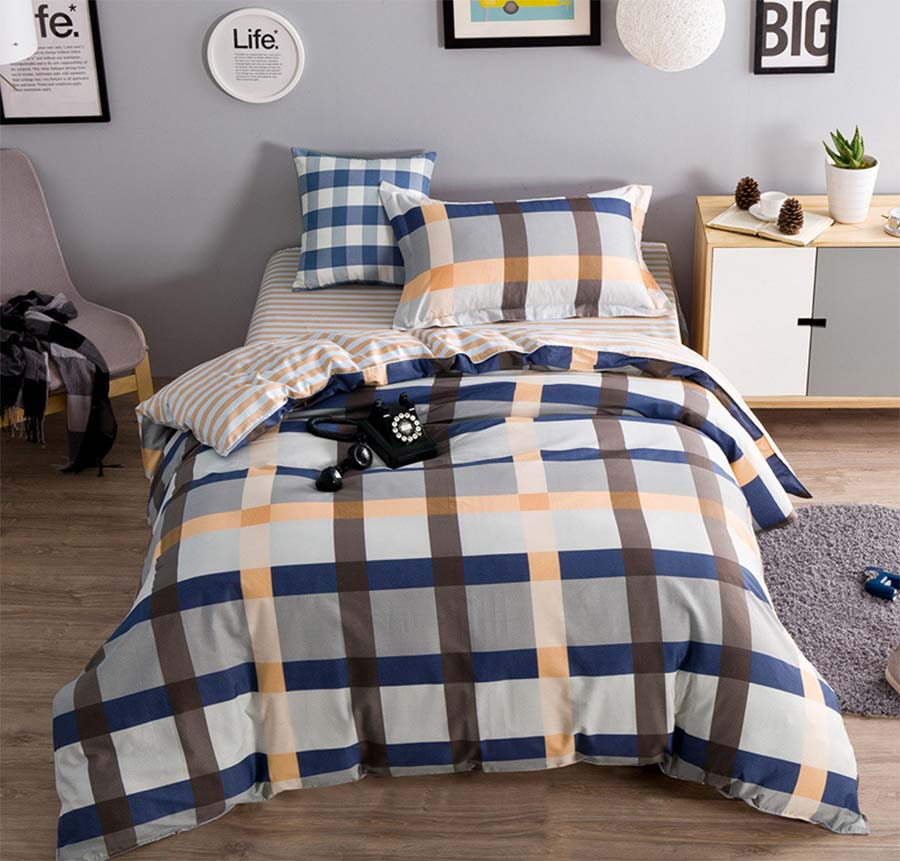 Blue And Brown Plaid Bedding