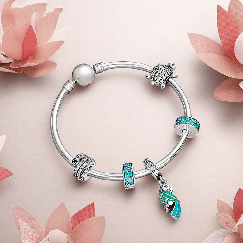 S925 Silver Sea Turtle Snake Charm Ste Signature Bracelet Fit DIY Original Jewelry Bangle Animal Valentine's Day Present 925 sterling silver sea turtle charm beads fit bracelets original animal turtle clear cz bead diy jewelry pas147