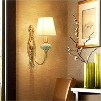 Modern Simple Brass Ceramic Fabric Led E14 Wall Lamp for Living Room Bedroom Aisle Bathroom H 34cm 80 265V 1557