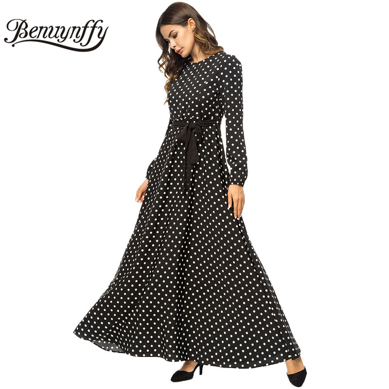 f30771cd3d9 Detail Feedback Questions about Benuynffy Autumn winter Ladies Elegant Polka  Dot A line Dress 2018 Women Long Sleeve O neck Casual Belted Long Maxi Dress  on ...