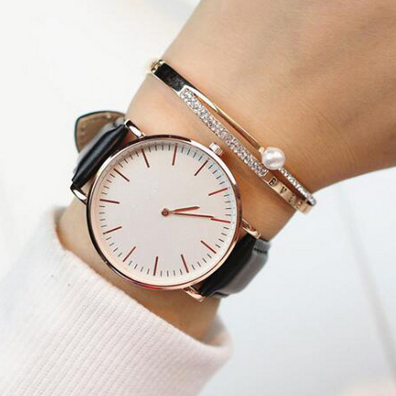 Ladies simple rose gold bracelet women watches 2017 luxury top brand casual quartz watch waches for Watches for women