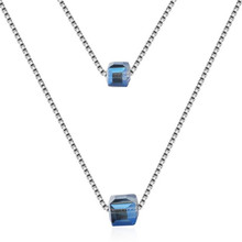 TJP New Arrival Crystal Blue Double Layer Pendants Necklace Jewelry Fashion 925 Sterling Silver Girl Accessories Female
