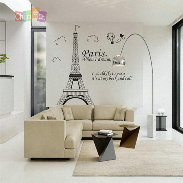 91 Cm * 118 Cm Chique Paris Torre Eiffel Home Decor Art Decalques Vinyl  Stickers Home Part 81