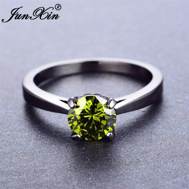 JUNXIN OL Design Men Womens Finger Ring Peridot Round CZ Ring
