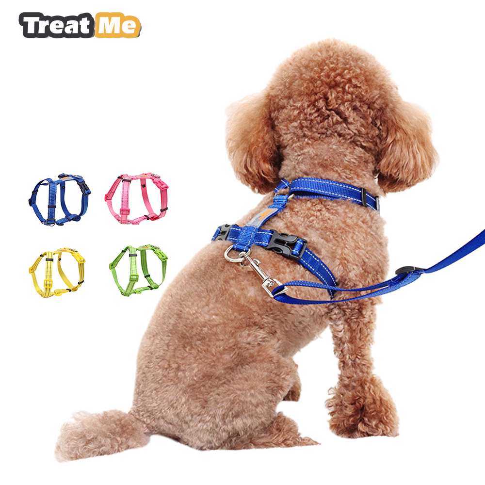 Nylon Dog Harness Reflective Night Safety Pet Harnesses Adjustable Vest Leash Set For Small Medium Dogs Pets Accessories S M L
