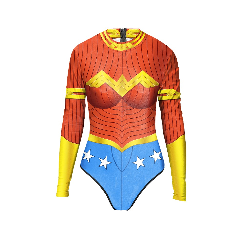 New 054 Sexy Girl Summer Comic Wonder Woman Hero Prints Zip Long Sleeve One Piece Swimsuit Monokini Women Swimwear Bathing Suit new 047 girl adventure time princess bubblegum prints zip long sleeve one piece swimsuit monokini women swimwear bathing suit