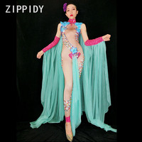 Sexy Rhinestones Big Flowers Jumpsuit Green Mesh Outfit Women's Dance Wear Stage Show Celebrate Female Singer Nude Clothing