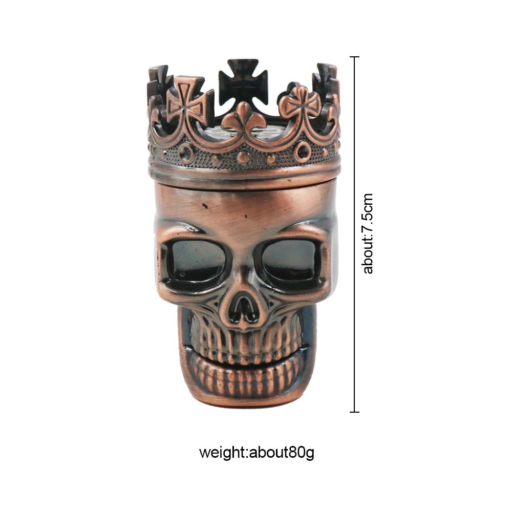 SY Best Selling Three Layer Metal Crown Tobacco Herb Grinder Plastic King Skull Bong Tobacco Grinder Smoking Tools in Shisha Pipes Accessories from Home Garden