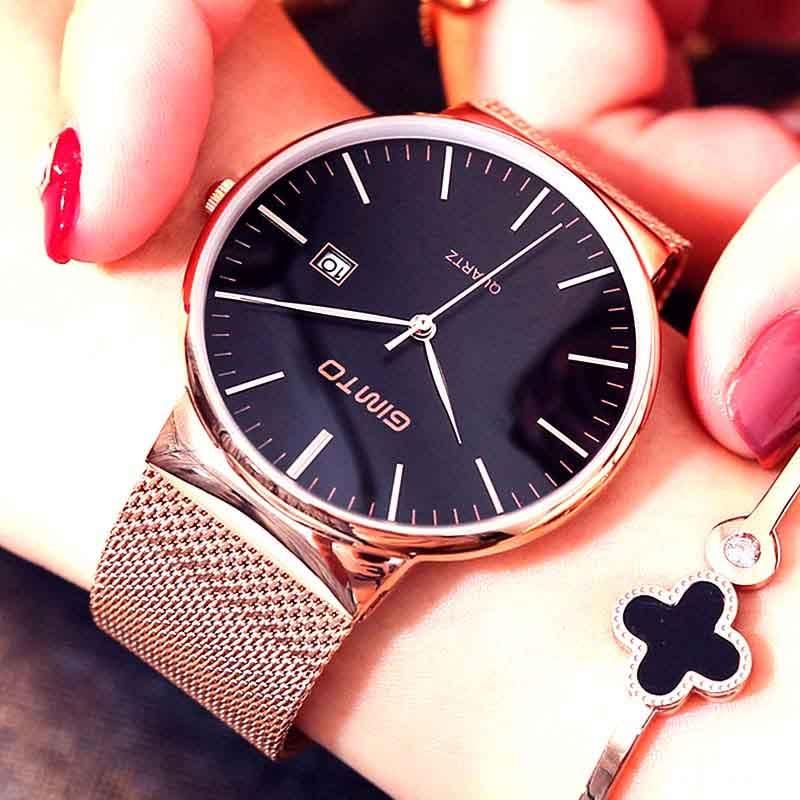 GIMTO 232 वॉच वीमेन लवर्स स्टेनलेस स्टील क्वार्ट्ज कलाई घड़ी महिला स्पोर्ट लेडीज के लिए उपहार के रूप में महिलाओं के लिए घड़ी