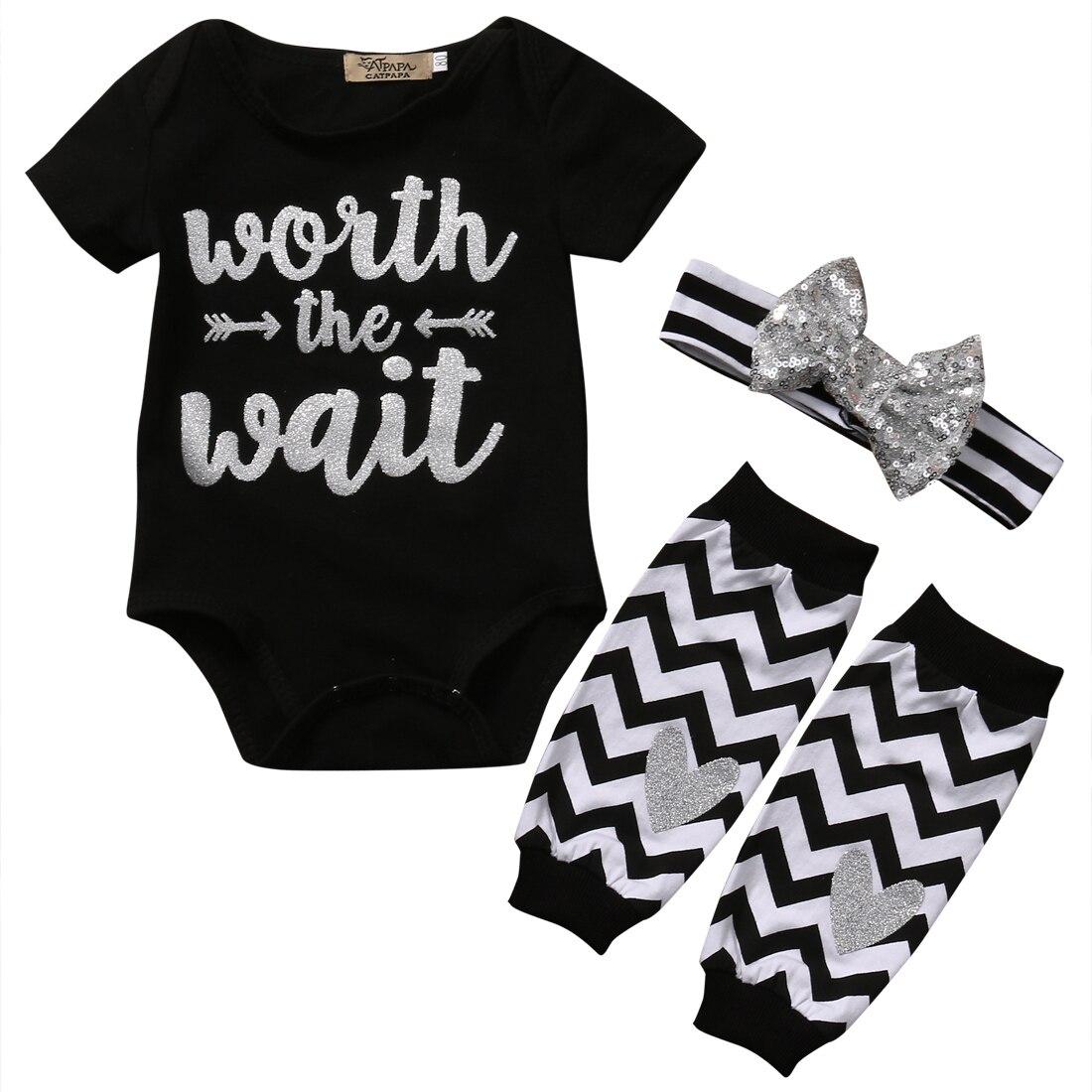 3PCS Set Newborn Baby Boy Girl Clothes Worth the Wait Baby Romper Bodysuit +Leg Warmer Headband Outfit Bebek Giyim Children Suit  недорого