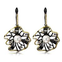 Latest Design Flower Shape Clear Cubic Zircon Drop Earrings Black Gold Plated Imitation Pearl Trendy Fashion