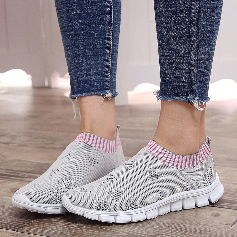 Lucyever Plus Size Women Spring Summer Sneakers Knitting Sock Casual Shoes Slip On Flat Mesh Breathable Soft Bottom Ladies Shoes