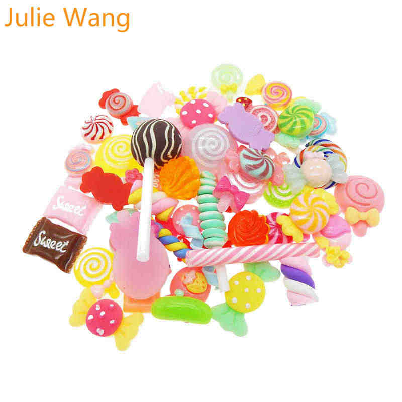 Julie Wang 20PCS Randomly Sent Resin Colorful Lollipop Candy Slime Charms Pendants Jewelry Necklace Bracelet Accessory Hnadcraft