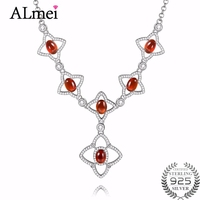 Almei 1.2ct Garnet 925 Sterling Silver Stars Chain Necklaces Red Zircon Pendant Wedding Necklace for Women with Box 40% FN031