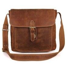 Men Brown Designer Brand Vintage Business Casual Travel Shouler Crossbody Bags 2018 Man Cow Leather Fashion Messenger Bags