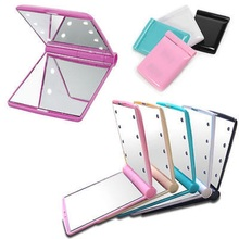 LED Lighted bi-folding Makeup Mirror fashion cosmetic portable and Travel Mirror