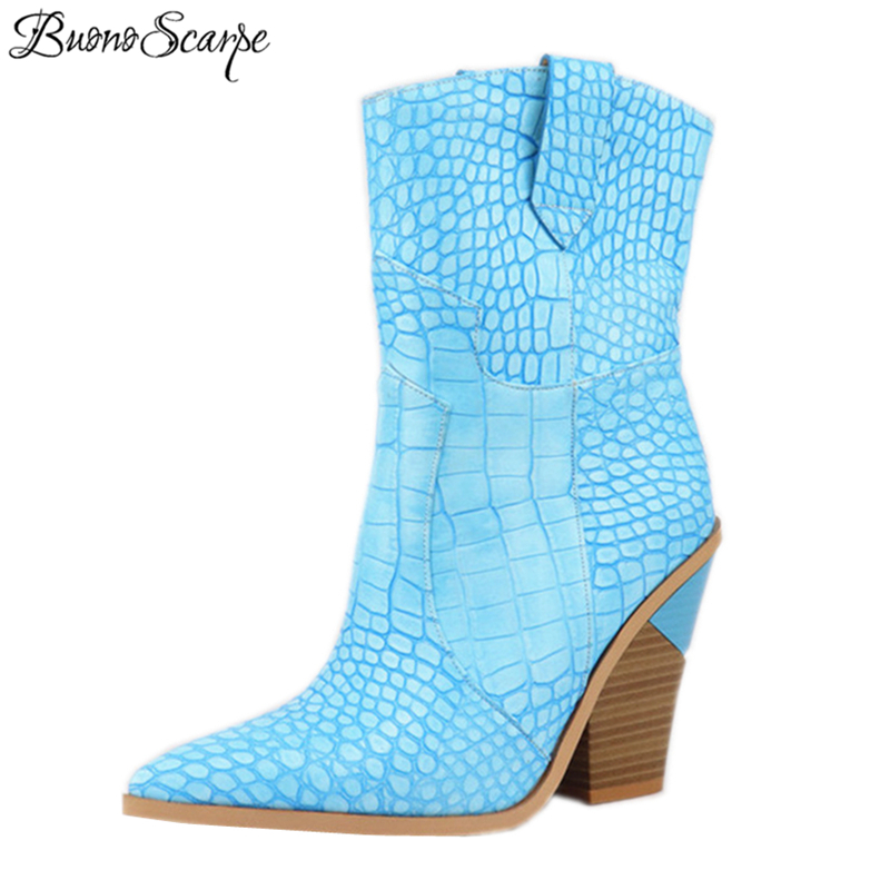 Ayakk.'ten Diz Altı Çizmeler'de Buono Scarpe 2019 Marka Takozlar Ins Sıcak Tarzı Yüksek Topuk Batı çizmeler kadın ayakkabıları Artı Boyutu 46 Retro Orta buzağı kadın Botları'da  Grup 1