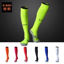 Chaussettes de Football en tissu éponge pour adultes, nouveau Style, protection pour la cheville et le veau, 3 paires = 1Lot, RB6603 R BAO