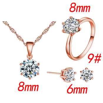 Fashion Silver Color Cubic Zircon Jewelry Sets Hot Promotions Jewelry Jewelry Sets Women Jewelry Metal Color: Rose Gold Ring Size: 9