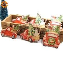 9PCS/Lot Creative Printed Car Christmas Gift Wooden Pendants Ornaments Wood Craft Kids Toys Tree Decorations