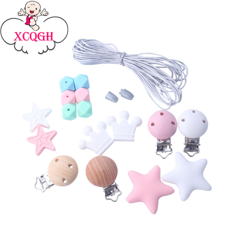 XCQGH Pink Silicone Beads Teether Accessories DIY Teething Jewelry Necklace Hand Made Pacifier Clip Baby Teether Bracelet Toy