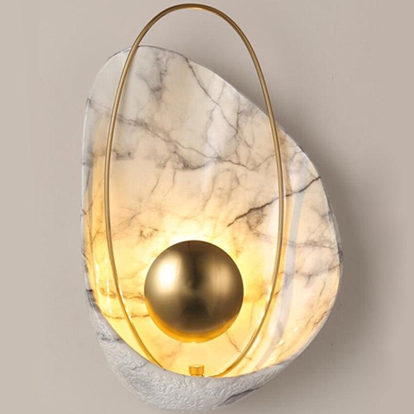 Modern led wall light minimalist shell shape Resin copper creative home bedroom bedside lamp hotel aisle