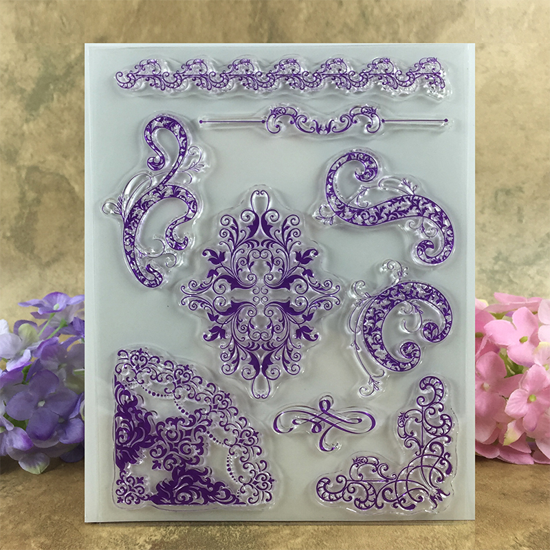 Colorful Cute Flower Frames Scrapbook DIY photo cards account rubber stamp clear stamp transparent stamp  15*18 CM scrapbook diy photo cards account rubber stamp clear stamp finished transparent chapter wall decoration 15 18