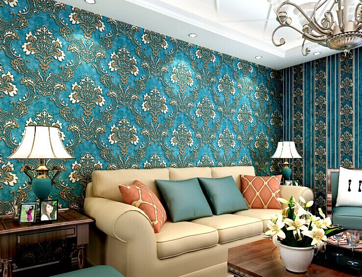2015 new 3d luxury damascus 10m vinyl wallpaper roll for Top 10 living room wallpaper