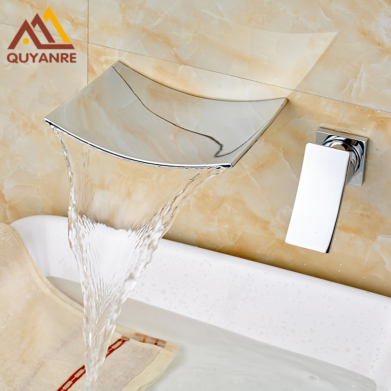 Chrome Finished Wall Mounted Bathroom Faucet Waterfall Hot and Cold Water Basin Mixer Tap china sanitary ware chrome wall mount thermostatic water tap water saver thermostatic shower faucet