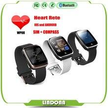 2016 Bluetooth Smart Watch Sport Schrittzähler Kompass Herzfrequenz Sim-karte Smartwatch für IOS und Android Telefon Uhren WP08