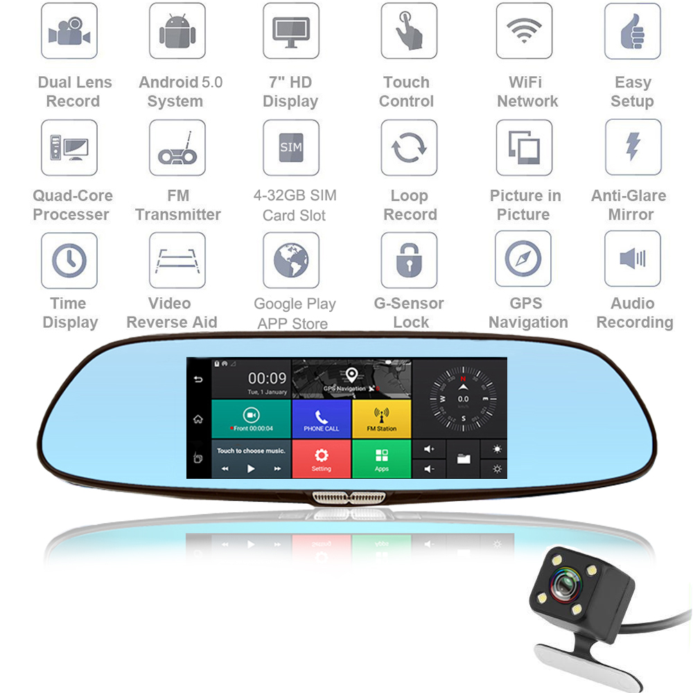 2018 Auto 3G Dash Cam Car DVR 7 Inch GPS Registrar Navigation Video Recorder Bluetooth WIFI Dual Lens Camera Rearview Mirror hyt h760 7 3g rearview mirror dvr and camera dual lens android 5 0 1080p video recorder gps navigation car detector dash cam