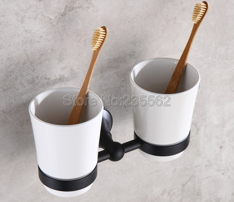 Black oil antique brass wall mounted toothbrush holders - Wall mounted ceramic bathroom accessories ...