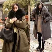 2018, зимнее женское пальто, большой меховой воротник, с капюшоном, длинная куртка, толстая, теплая, Корейская, с подкладкой, парка большого раз...